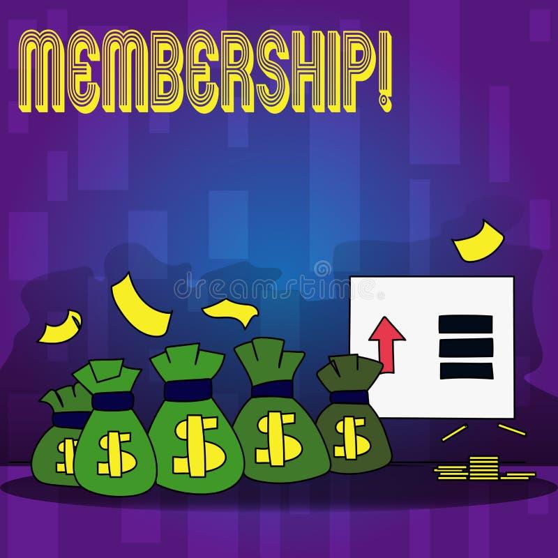 Handschriftstext-Schreiben Mitgliedschaft Das Konzept, das seiend Mitgliedsteil einer Gruppe oder Team bedeutet, schließen sich O stock abbildung