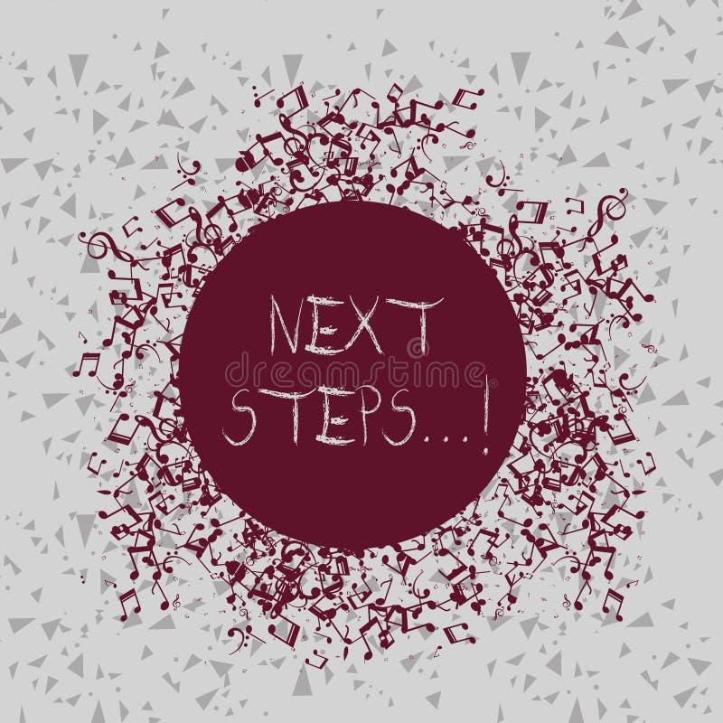 Handschriftstext-Schreiben nächste Schritte Konzept, das etwas bedeutet, das Sie tun, nachdem Sie beendet haben, in Unordnung geb vektor abbildung