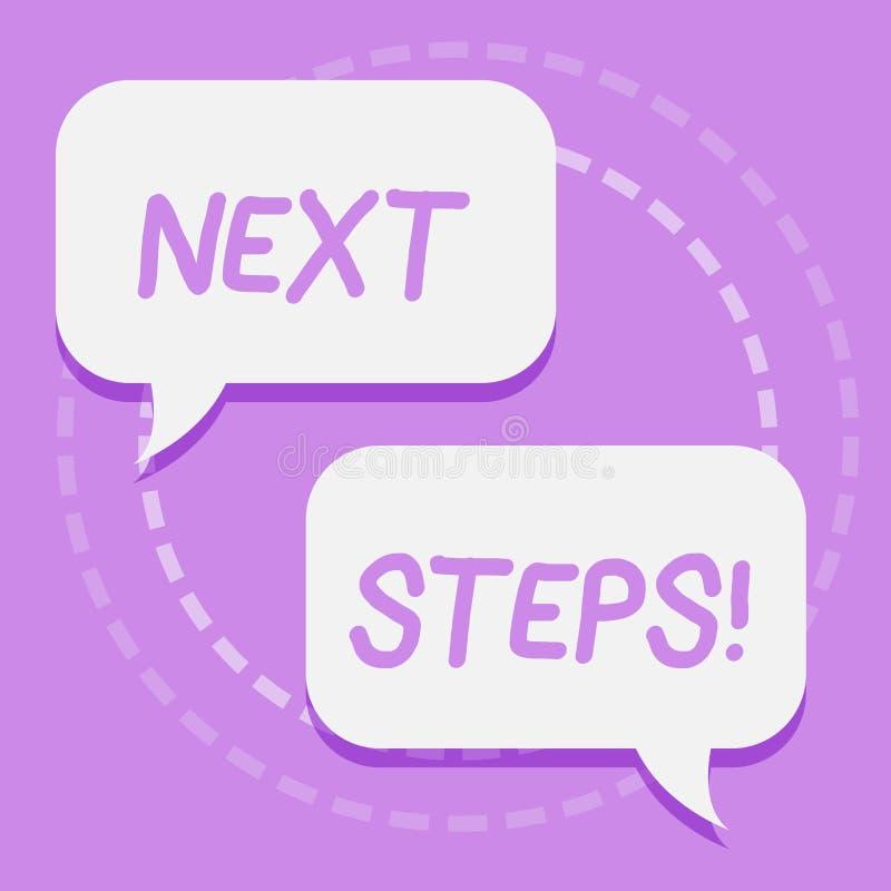 Handschriftstext-Schreiben nächste Schritte Konzept, das etwas bedeutet, das Sie tun, nachdem Sie noch etwas zwei leeres beendet  vektor abbildung