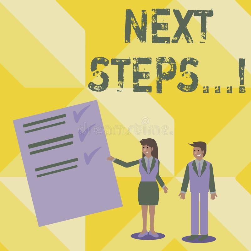Handschriftstext-Schreiben nächste Schritte Konzeptbedeutung nach Bewegungs-Strategie-Plan geben Richtungs-Richtlinie vektor abbildung