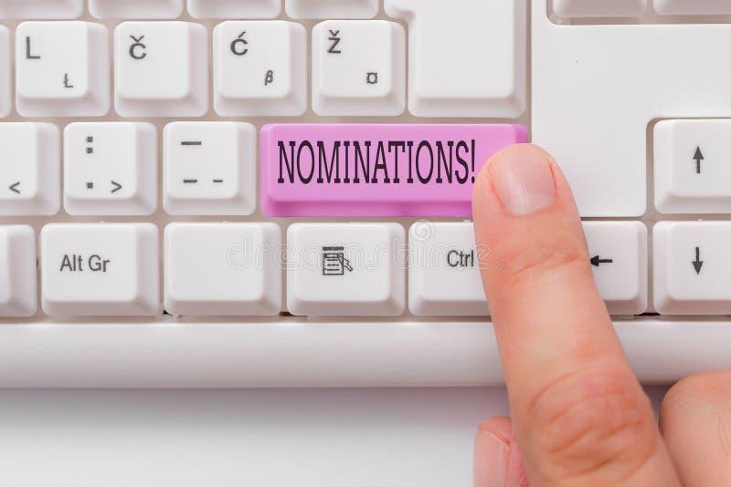 Handschriftstext-Schreiben Nominierungen Konzept, das Aktion der Ernennung oder des Zustandes ernannt werden für weißen PC des Pr stockbild