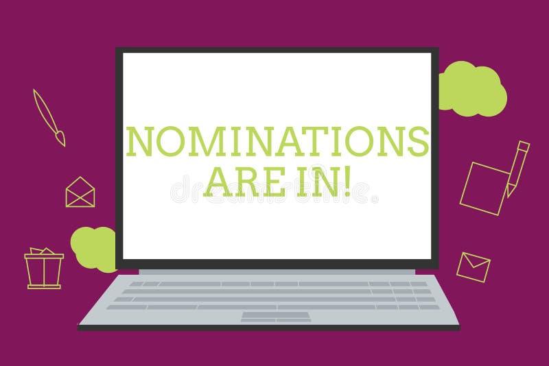 Handschriftstext-Schreiben Nominierungen sind herein Konzept, das jemand formal wählen offizieller Kandidat für einen Preis bedeu lizenzfreie abbildung