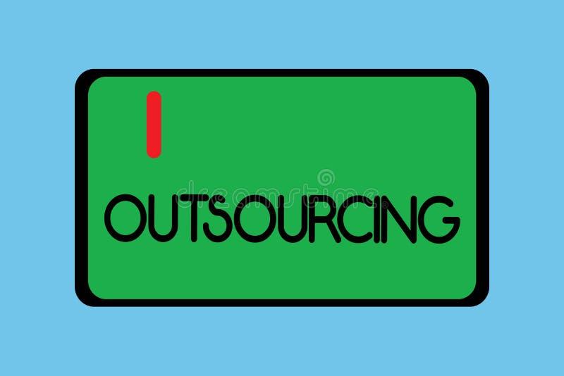 Handschriftstext-Schreiben Outsourcing Konzeptbedeutung erreichen Waren oder halten durch Vertrag von einem externen Lieferanten  stock abbildung