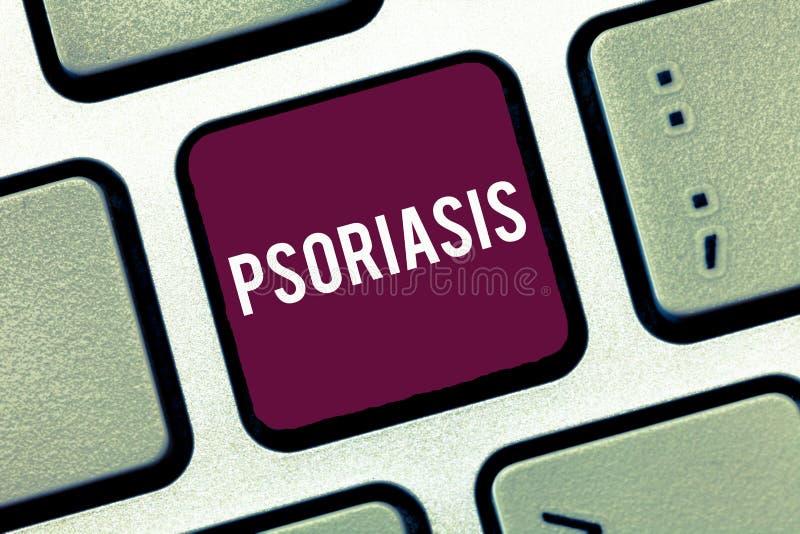 Handschriftstext-Schreiben Psoriasis Konzept, das allgemeine Hautzustand bedeutet, die den Lebenszyklus von Hautzellen beschleuni stockfoto