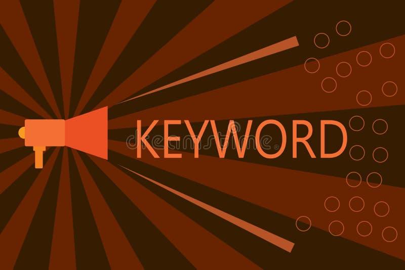 Handschriftstext-Schreiben Schlüsselwort Konzeptbedeutung Wort-Konzept mit wichtiger Marketingstrategie der hohen Bedeutung lizenzfreie abbildung