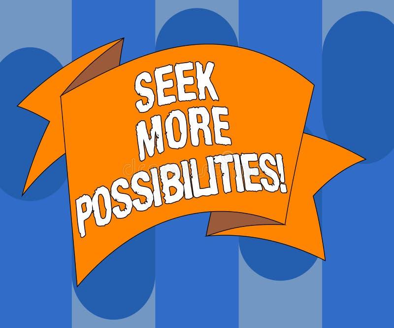 Handschriftstext-Schreiben Suchvorgang mehr Möglichkeiten Konzeptbedeutung Suche oder die Gelegenheiten des Joint Ventures finden stock abbildung
