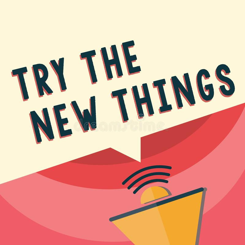 Handschriftstext-Schreiben Versuch die neuen Sachen Konzeptbedeutung bricht oben Leben-Programm lernen etwas innovative Fähigkeit vektor abbildung