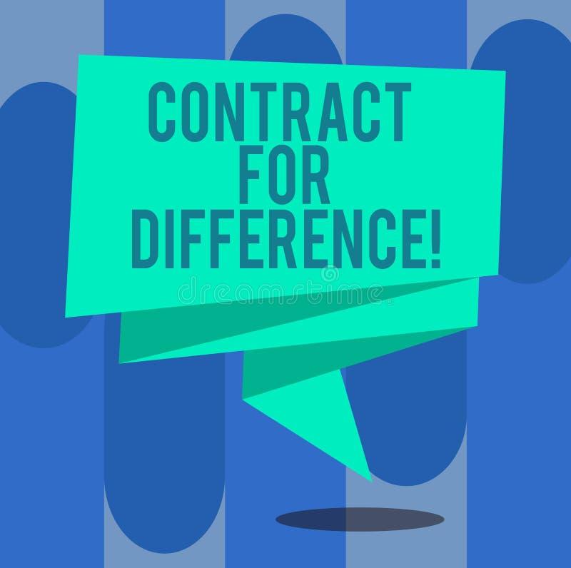Handschriftstext-Schreiben Vertrag für Unterschied Konzeptbedeutungsvertrag zwischen einem Investor und einer Emissionsbank vektor abbildung
