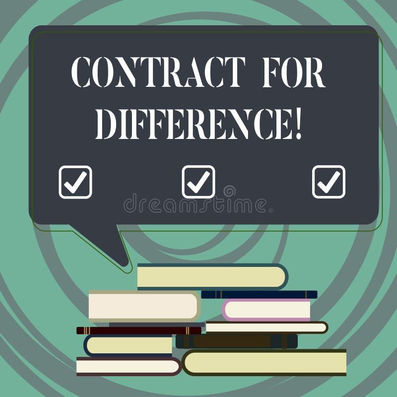 Handschriftstext-Schreiben Vertrag für Unterschied Konzeptbedeutungsvertrag zwischen einem Investor und einer Emissionsbank stock abbildung