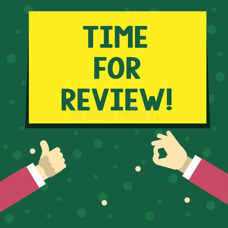 Handschriftstext-Schreiben Zeit für Bericht Die Konzeptbedeutung, die Feedback-Bewertungs-Ratenjobtest geben oder das Produkt qua vektor abbildung
