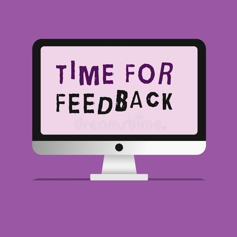 Handschriftstext-Schreiben Zeit für Feedback Konzeptbedeutung BedarfsAntwort oder geben Kritiker auf etwas Bewertung lizenzfreie abbildung
