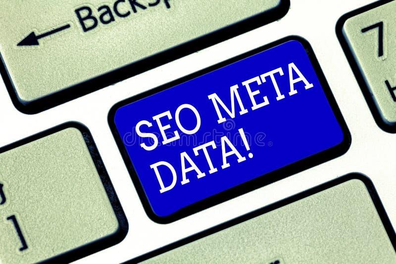 Handschriftstext Seo Meta Data Konzept, das Suchmaschinen-Optimierungs-on-line-Marketingstrategie Taste bedeutet lizenzfreie stockbilder