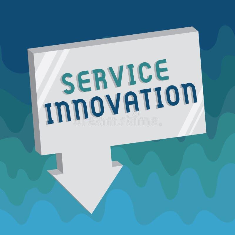 Handschriftstext Service-Innovation Konzept-stellen Bedeutung verbesserte Produktserie Dienstleistungen bevorstehende Tendenz vor stock abbildung