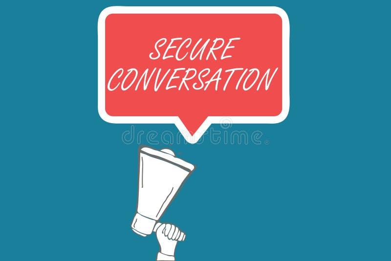 Handschriftstext sicheres Gespräch Konzept-Bedeutung gesicherte verschlüsselte Kommunikation zwischen Webservices vektor abbildung