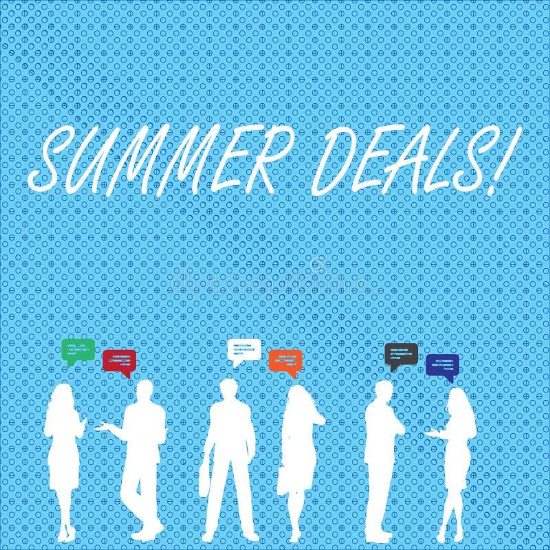 Handschriftstext Sommer-Abkommen Das Konzept, das Sonderverkäufe bedeutet, bietet für Ferien-Feiertags-Reise-Preis-Rabatte an stock abbildung