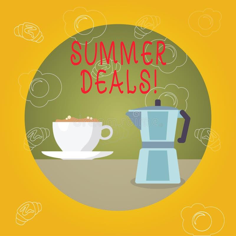 Handschriftstext Sommer-Abkommen Das Konzept, das Sonderverkäufe bedeutet, bietet für Ferien-Feiertags-Reise-Preis-Rabatte an lizenzfreie abbildung