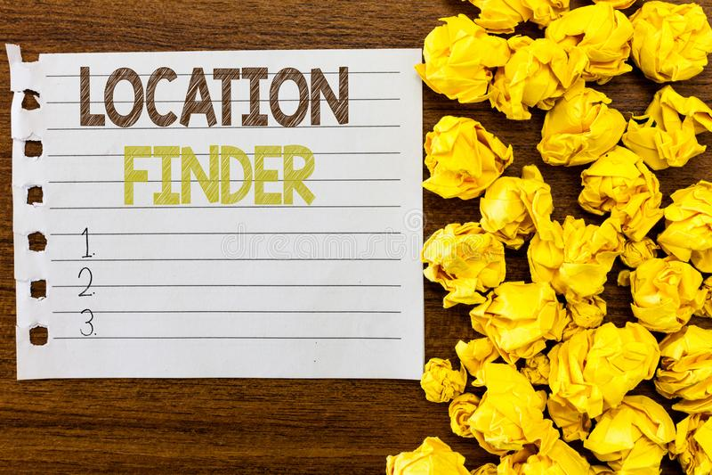 Handschriftstext Standort-Sucher Konzept, das a-Service gekennzeichnet, um die Adresse eines vorgewählten Platzes zu finden bedeu lizenzfreie stockfotos