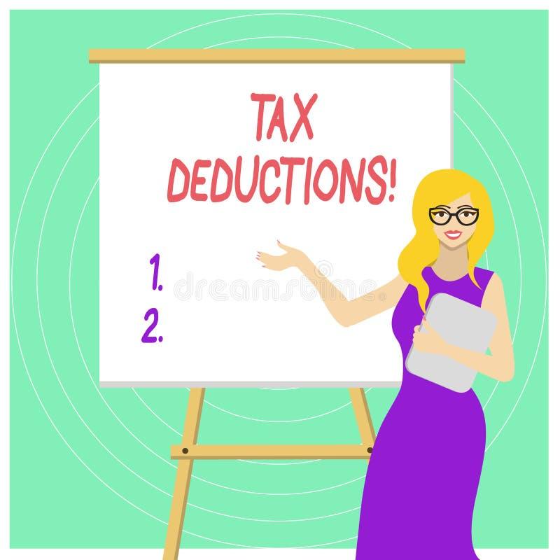 Handschriftstext Steuerabz?ge Konzept, das Reduzierungseinkommen bedeutet, das ist, von Ausgaben weißer Frau herein besteuert zu  stock abbildung