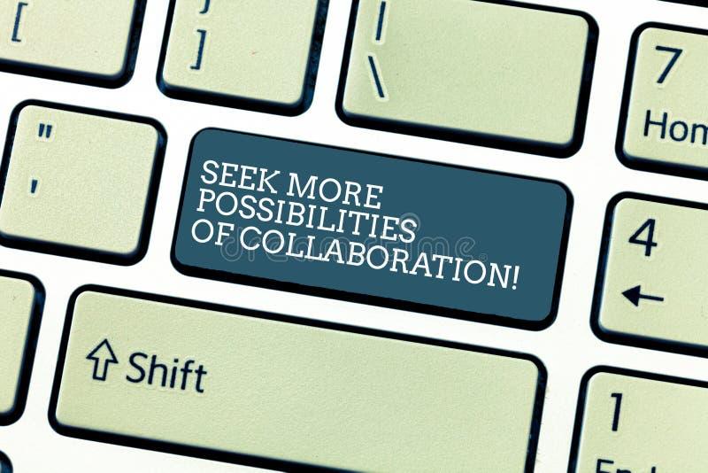 Handschriftstext Suchvorgang mehr Möglichkeiten der Zusammenarbeit Konzeptbedeutung, die nach Partnerschaft Taste sucht vektor abbildung