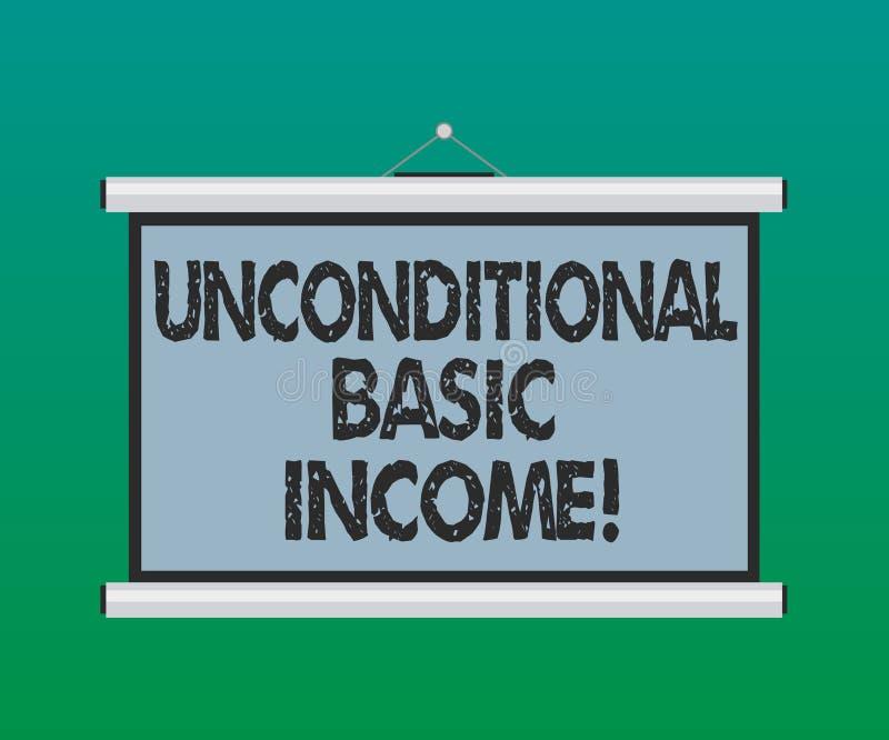 Handschriftstext unbedingtes Grundeinkommen Konzeptbedeutung zahlte Einkommen ohne eine Anforderung, den tragbaren freien Raum zu stock abbildung