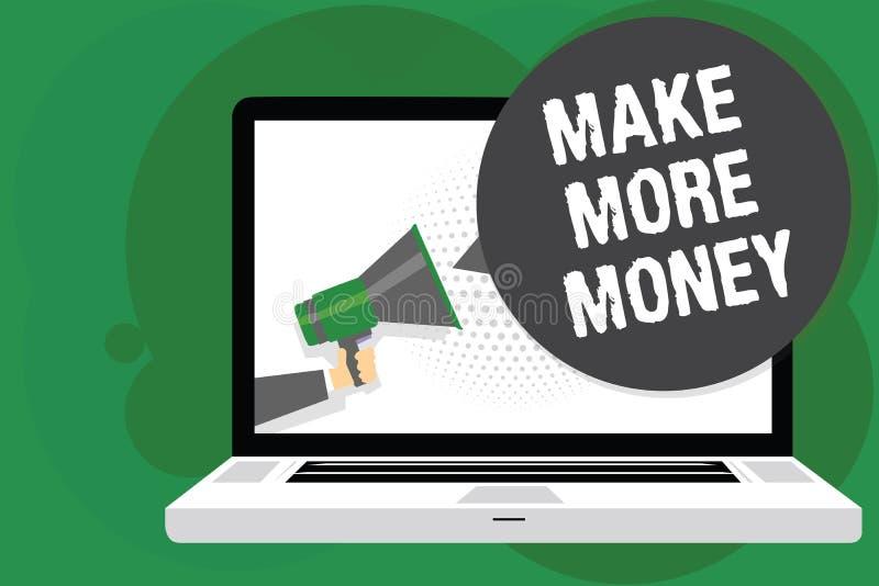 Handschriftstext verdienen mehr Geld Konzeptbedeutung Zunahme Ihr Einkommensgehaltsnutzen bearbeiten den härteren Ehrgeiz-Mann, d lizenzfreie abbildung