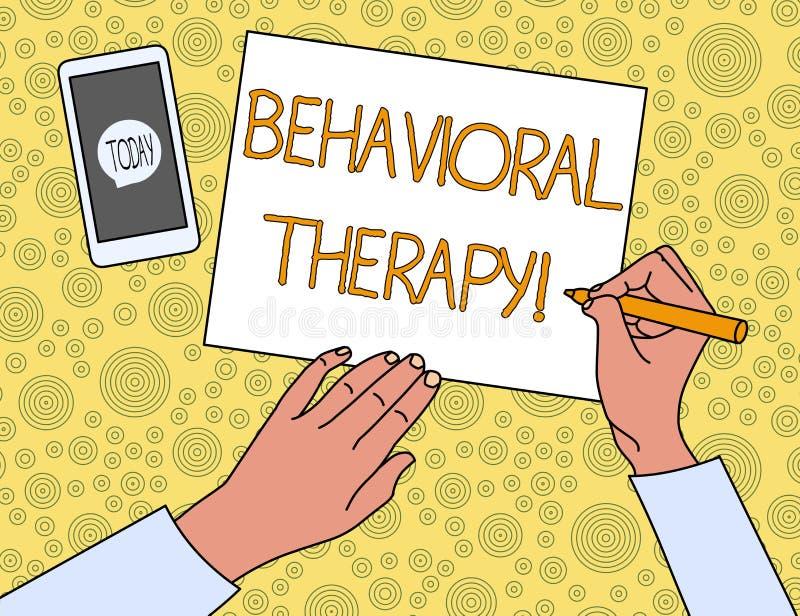 Handschriftstext Verhaltenstherapie Konzept, das Hilfe bedeutet, möglicherweise selfdestructive Verhalten Draufsicht-Mann zu ände lizenzfreie abbildung