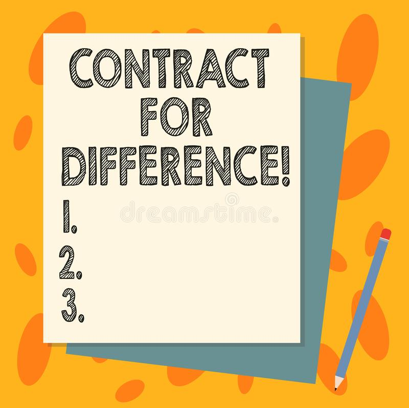Handschriftstext Vertrag für Unterschied Konzeptbedeutungsvertrag zwischen einem Investor und einem Emissionsbank Stapel von vektor abbildung