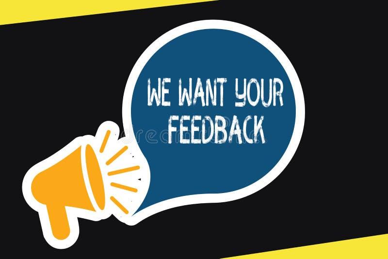 Handschriftstext wünschen wir Ihr Feedback Konzeptbedeutung, zum von Leistung oder von Produkt-fristgerechter Reaktion zu verbess lizenzfreie abbildung