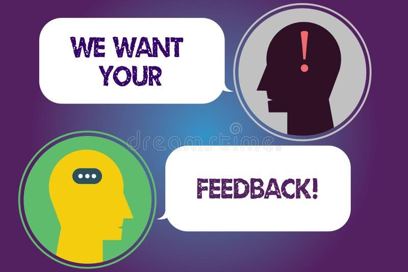 Handschriftstext wünschen wir Ihr Feedback Konzeptbedeutung, zum von Perforanalysisce oder Produkt-von fristgerechtem Reaktions-B stock abbildung