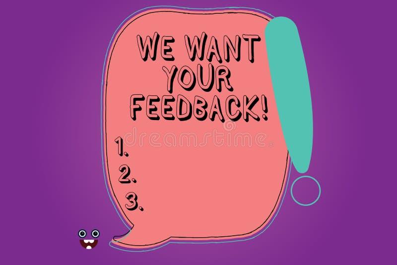 Handschriftstext wünschen wir Ihr Feedback Konzeptbedeutung, zum von Perforanalysisce oder Produkt-von fristgerechtem Reaktions-f lizenzfreie abbildung