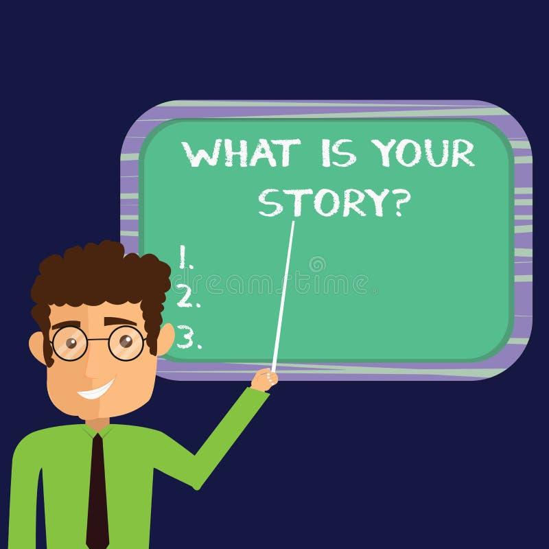Handschriftstext, was Ihr Storyquestion ist Konzeptbedeutung sagen uns Ihrem Hintergrund und Lebenserfahrungen Mann-Stellung stock abbildung