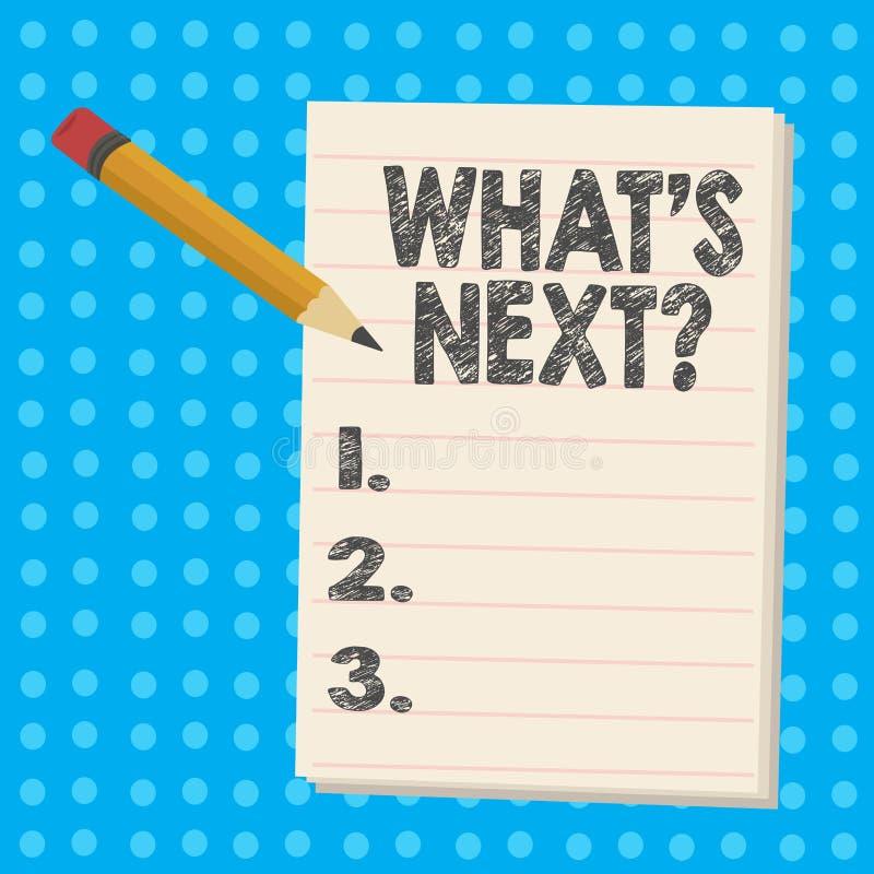 Handschriftstext was S Nextquestion Folgende Anleitung Schritte der Konzeptbedeutung zum sich zu bewegen oder zu arbeiten fortzuf stock abbildung