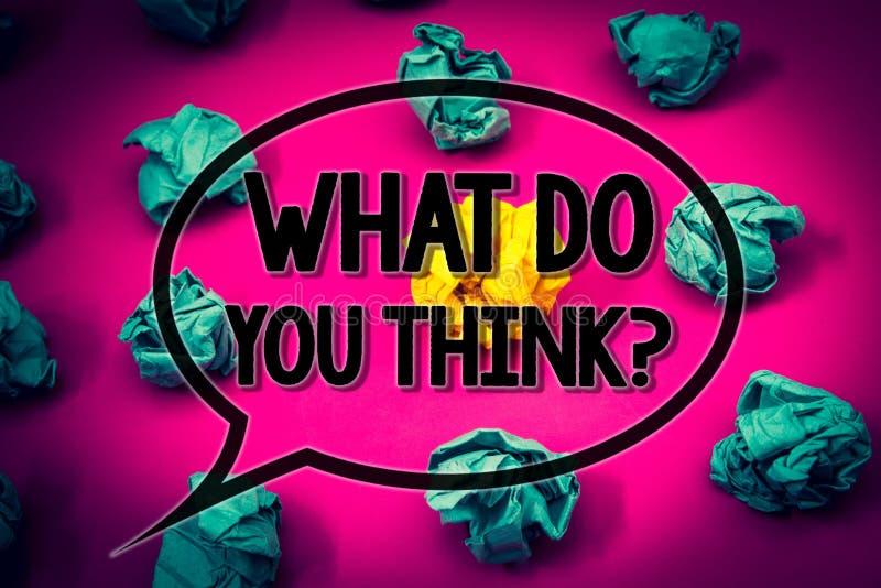 Handschriftstext, was Sie Frage denken Konzeptbedeutung Meinungs-Gefühl-Kommentar-Urteil-Überzeugung enormer Smaragdpapierlob lizenzfreie stockfotografie