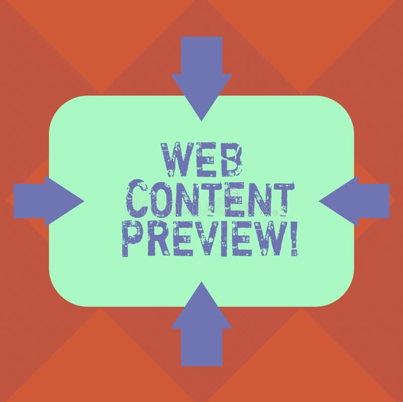 Handschriftstext Web-Inhalts-Vorschau Konzeptbedeutungs-Textsichtbarmachung aural, die von Benutzererfahrung Pfeilen an antraf stock abbildung