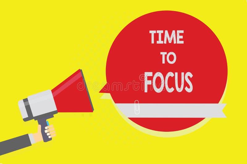 Handschriftstext Zeit zu fokussieren Konzeptbedeutung geben Erfolg Mann volle Aufmerksamkeit zu etwas oder Tätigkeit Schlüssel, d stock abbildung