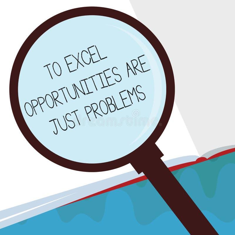 Handschriftstext zu Excel-Gelegenheiten sind gerade Probleme Konzeptbedeutung Kuschelecke-Furcht die Außenwelt stock abbildung