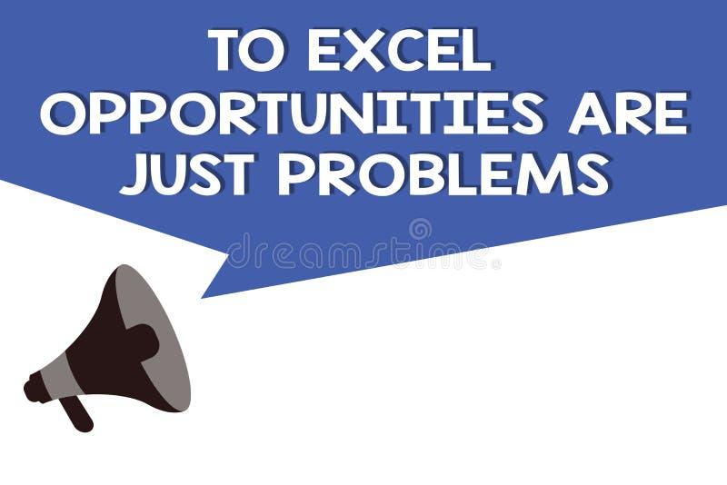 Handschriftstext zu Excel-Gelegenheiten sind gerade Probleme Konzeptbedeutung Kuschelecke-Furcht die Außenwelt vektor abbildung
