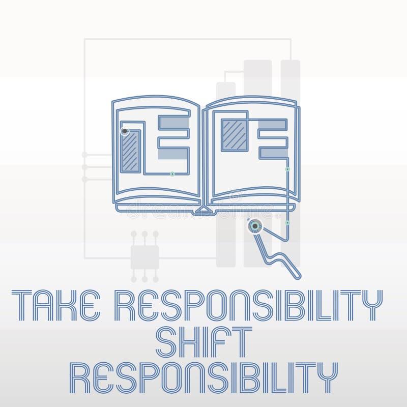 Handschriftstextschreiben übernehmen Verantwortungs-Schiebeverantwortung Konzeptbedeutung wird nehmen die Verpflichtung gereift lizenzfreie abbildung