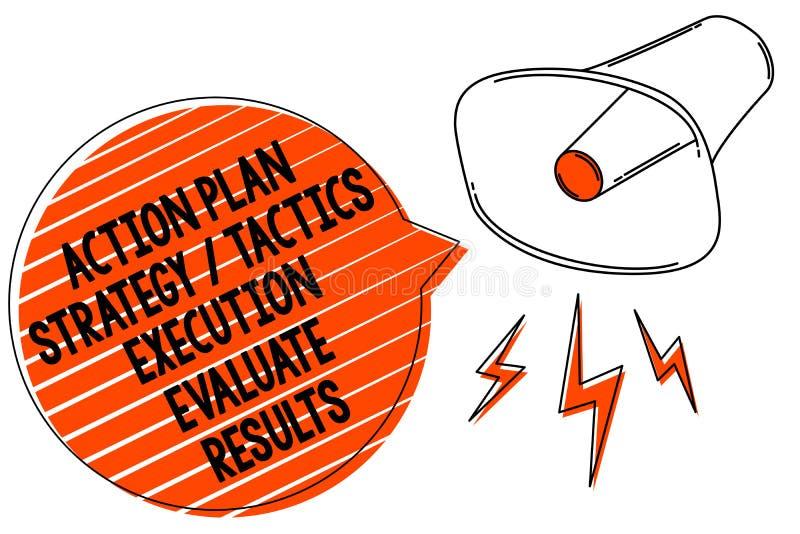 Handschriftstextschreiben Aktionsplan-Strategie-Taktik-Durchführung werten Ergebnisse aus Konzeptbedeutung Management-Feedback-Me vektor abbildung