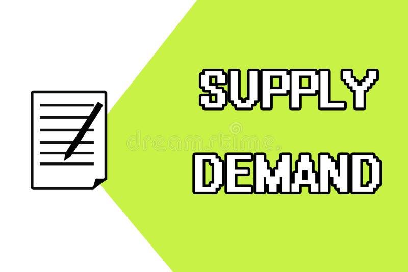 Handschriftstextschreiben Angebot-Nachfrage Konzeptbedeutung Verhältnis zwischen den Mengen verfügbar und gewünscht stock abbildung