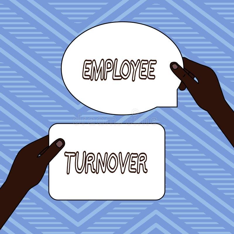 Handschriftstextschreiben Angestellt-Umsatz Konzeptbedeutung Zahl oder Prozentsatz von Arbeitskr?ften, die eine Organisation lass stock abbildung