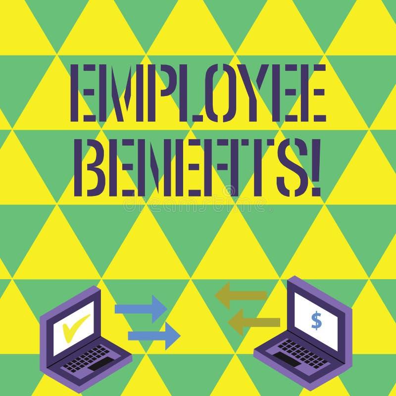 Handschriftstextschreiben Angestellter Nutzen Konzept, welches die Zahlungen geleistet an Angestellte außerhalb des Rahmens der L stock abbildung