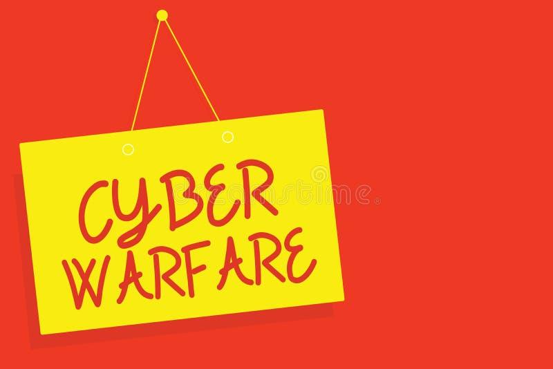 Handschriftstextschreiben Cyber-Kriegsführung Das Konzept, das virtuelles Kriegs-Hacker-System bedeutet, nimmt Digital-Dieb-Stalk lizenzfreie abbildung