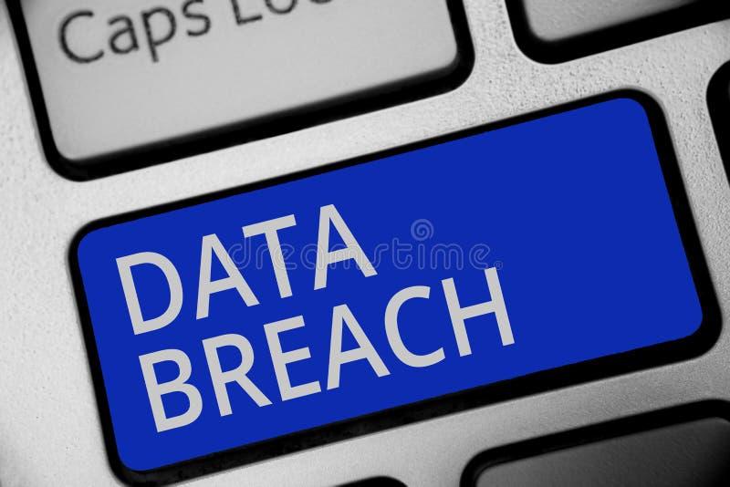 Handschriftstextschreiben Daten-Bruch Konzeptbedeutungs-Sicherheitsvorfall, wo empfindliche geschützte Informationen Tastaturblau stockbilder