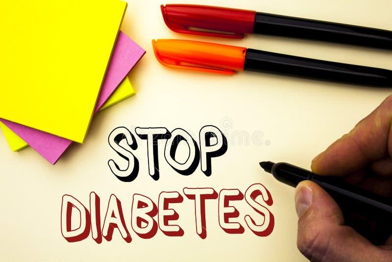 Handschriftstextschreiben Enddiabetes Konzeptbedeutung kümmern sich um Ihren Sugar Levels Healthy Diet Nutritions-Gewohnheiten, d lizenzfreie stockfotografie