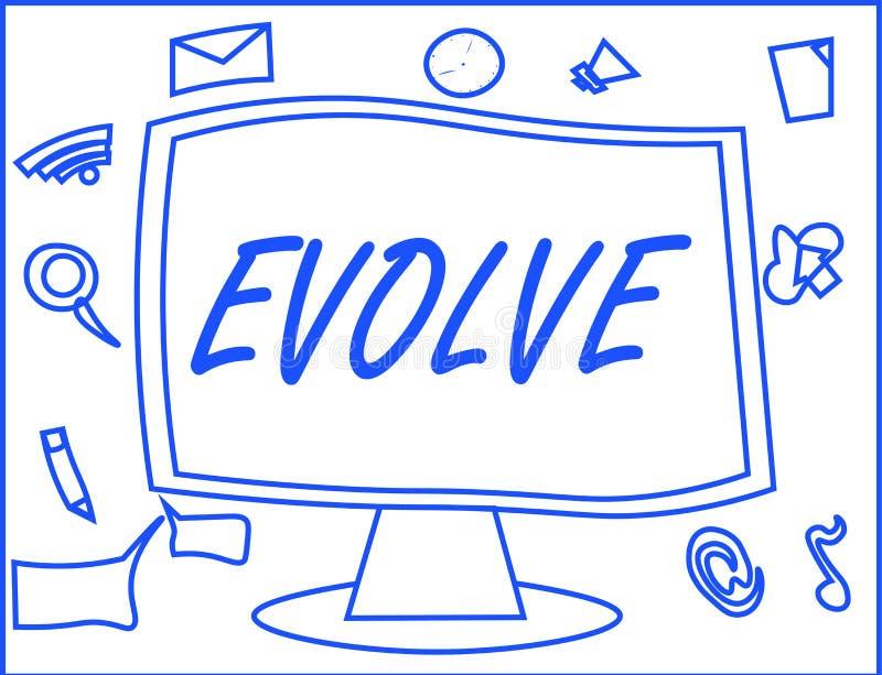 Handschriftstextschreiben entwickeln Konzeptbedeutung entwickeln sich verbessern allmählich Ihre Fähigkeitskonstitution oder -per stock abbildung
