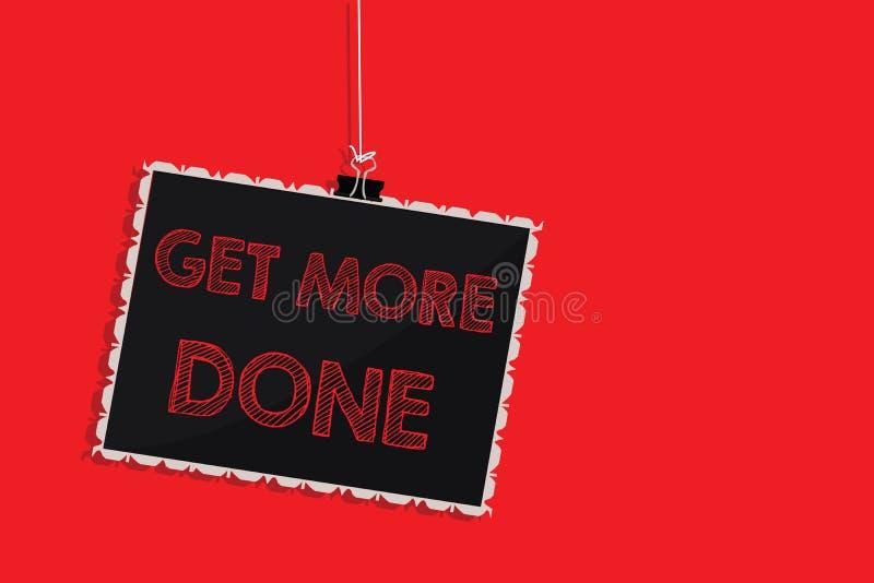 Handschriftstextschreiben erhalten getan Konzeptbedeutung Checkliste organisiertes Zeit-Management-Anfangs-Hardwork-Taten-Hängen lizenzfreie abbildung