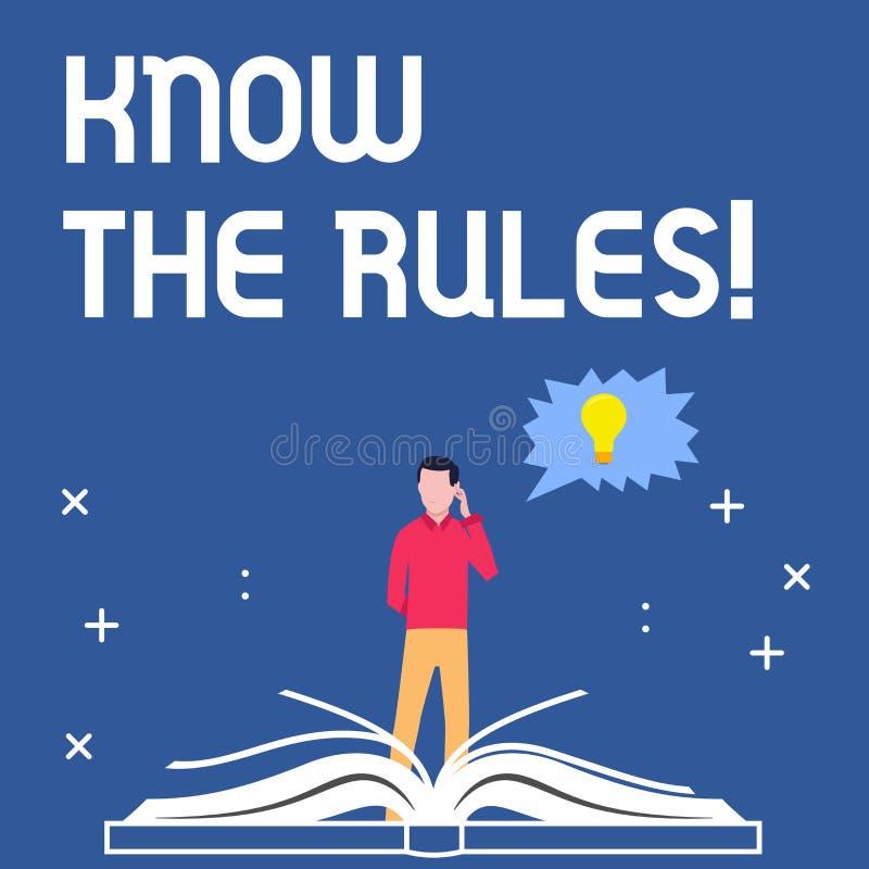 Handschriftstextschreiben kennen die Regeln Konzeptbedeutung berücksichtigt die Gesetzesregelungs-Protokoll-Verfahren  lizenzfreie abbildung
