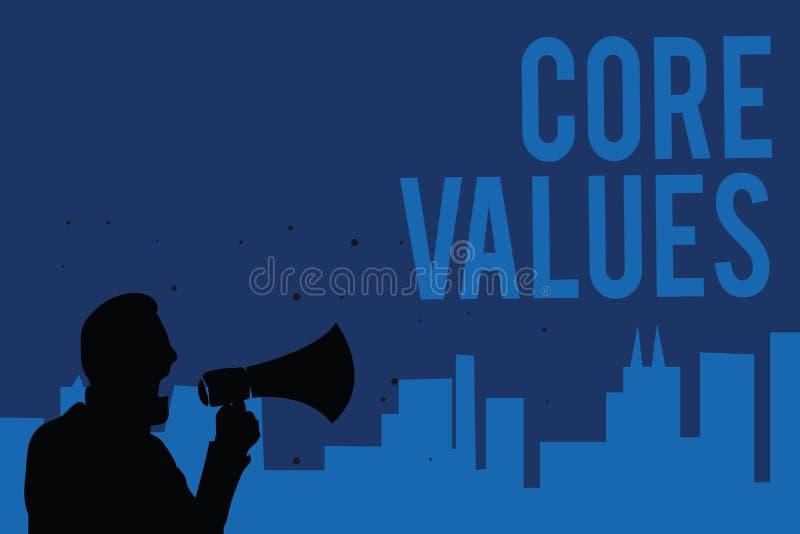 Handschriftstextschreiben Kern-Werte Konzeptbedeutungs-Glaubensperson oder Organisationsansichten als seiend- Bedeutung Mann, der lizenzfreie abbildung