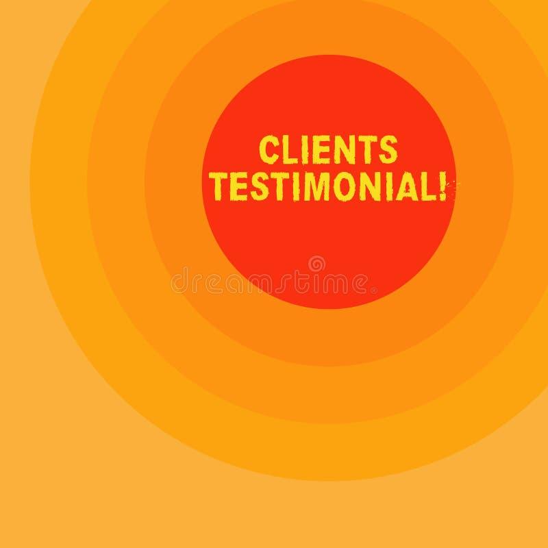 Handschriftstextschreiben Kunden-Referenz Das Konzept, das Kunden-persönliche Erfahrungen bedeutet, wiederholt Meinungs-Feedback lizenzfreie abbildung
